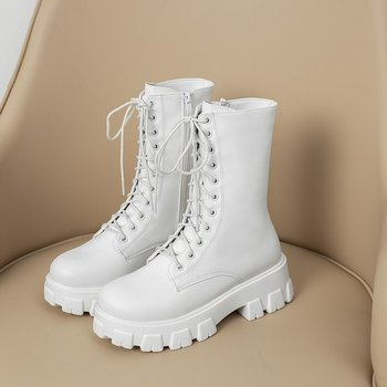 2020 White Combat Boots Women Autumn Black Leather Platform Gothic Shoes Boots Winter Warm Plush Women Mid-Calf Boots Size 35-43 snow boots platform 4 8cm heels down flat women shoes black white blue mid calf boots fashion ladies winter boots plus size 44