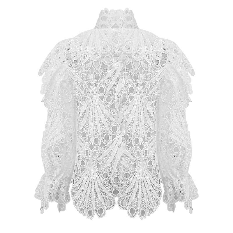 CHICEVER женская блузка с длинным рукавом и оборками, женская блузка с воротником-хомутом, новинка 2020, модная одежда
