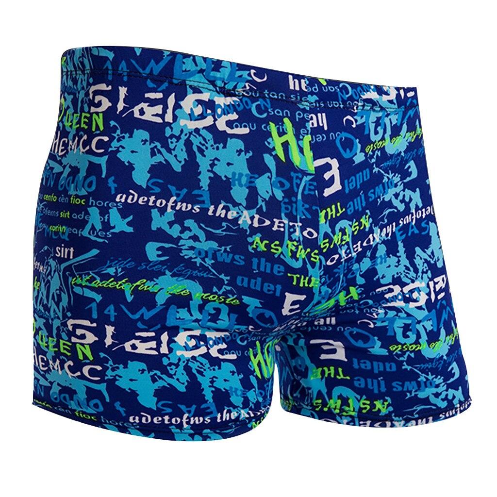 Deep Dark Green Mens Swimming Trousers Quick-Drying Beach Shorts Polyester Peach Summer Florals