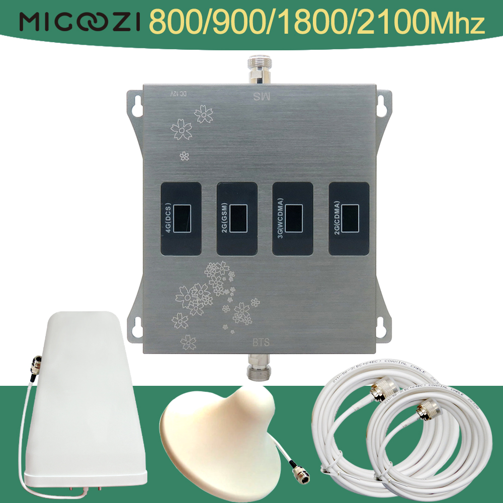 2G 3G 4G Mobile Signal Repeater Set Four Band 800 900 1800 2100Mhz Cell Phone Booster CDMA LTE GSM DCS WCDMA Cellular Amplifier