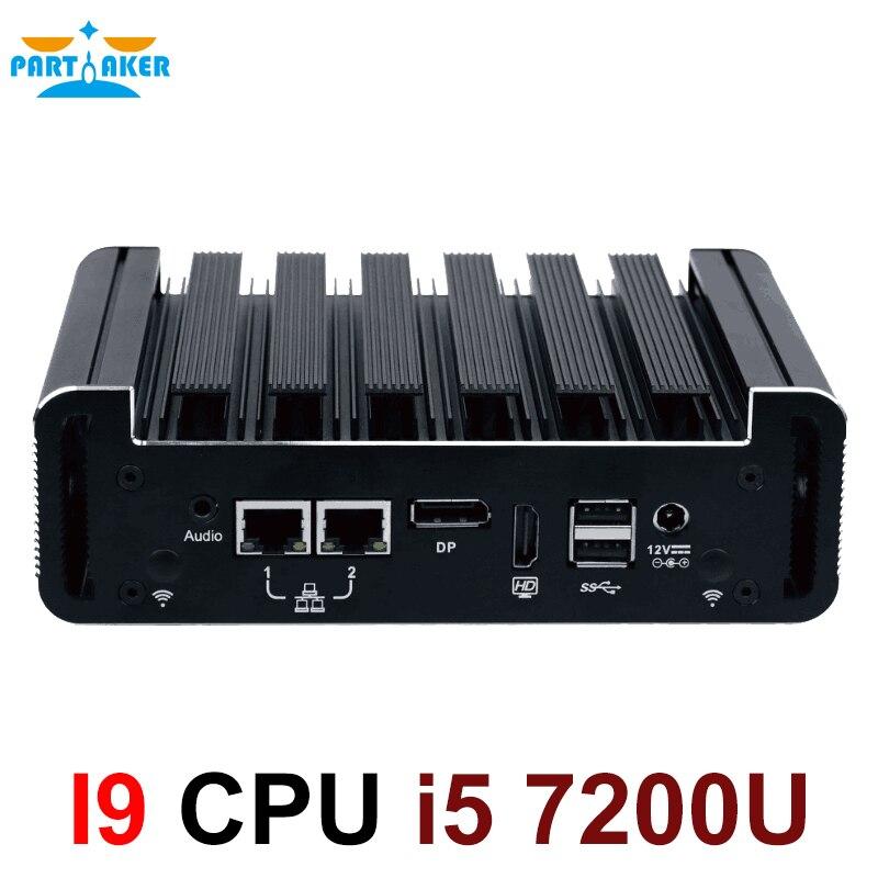 Причастником Intel Core i5 7200U промышленный безвентиляторный мини-ПК Windows 10 4K HTPC NUC HDMI DP 6 USB 2 COM для Бизнес офиса