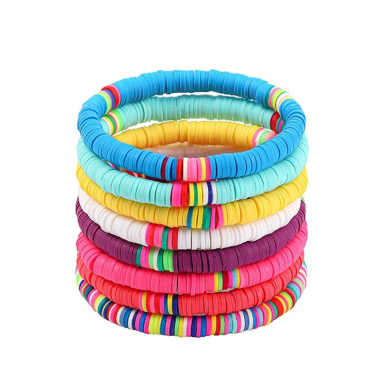 8 шт./компл., цветной браслет из полимерной глины в стиле бохо для женщин, регулируемый эластичный мягкий керамический женский браслет, летни...