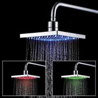vidric ru FREE SHIPPING abs led 8 shower head chrome rainfall led changing shower head bathroom accessories chuveiro conduzid