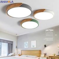 Lámparas de techo Led decorativa para el hogar, lámpara de techo de hierro y madera montada en superficie de pared nórdica, Led, blanca y negra