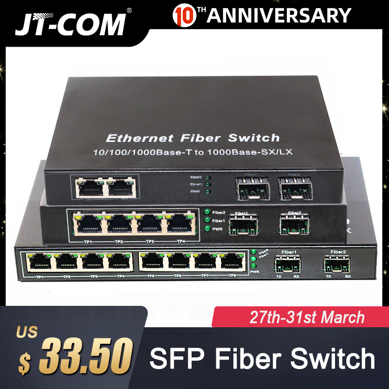 Gigabit Network SFP Fiber Switch 1000Mbps SFP Media Converter 2 SFP Fiber Port And 4 8 RJ45 Port 2G2/4/8E Fiber Ethernet Switch