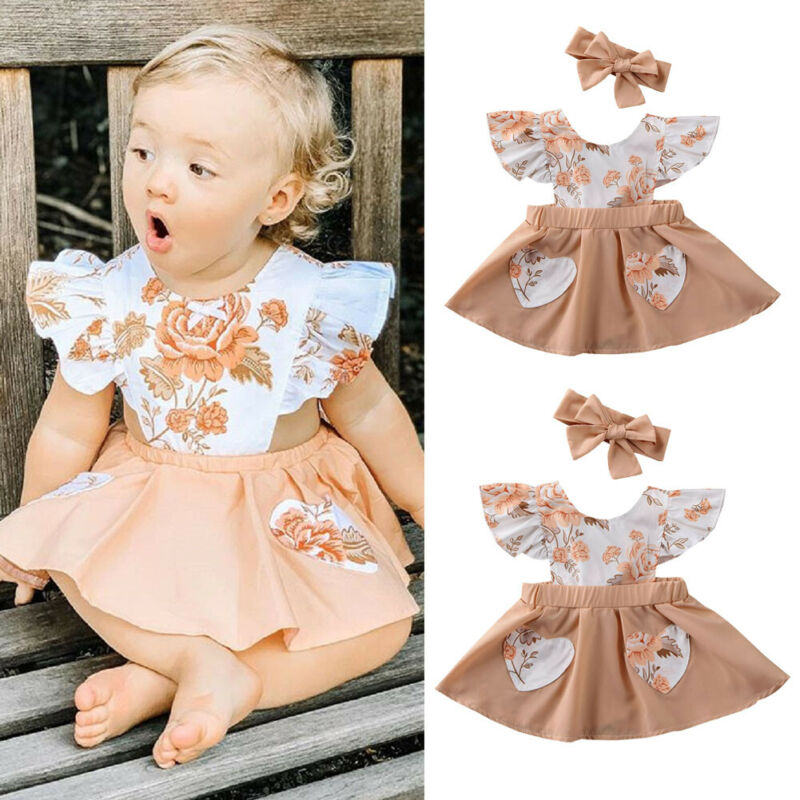 Emmababy Cute Newborn Dresses Baby Girl Clothes Flower Ruffle Dress Sundress Outfit title=