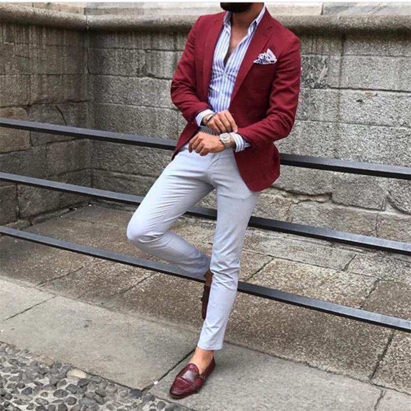 Burgundy Red Suit Blazer Men Tuxedo Suit Jacket Men Suits For Wedding Slim Fit Custom Suit Men 2 Piece With Pants Custom Made