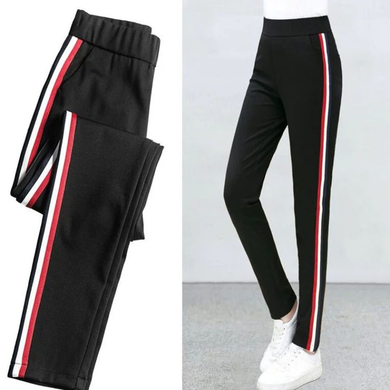 Pants For Women New Loose Pants Casual Side Stripes Regular High Waist Type Straight Pants Black Pencil Pants Multiple Sizes