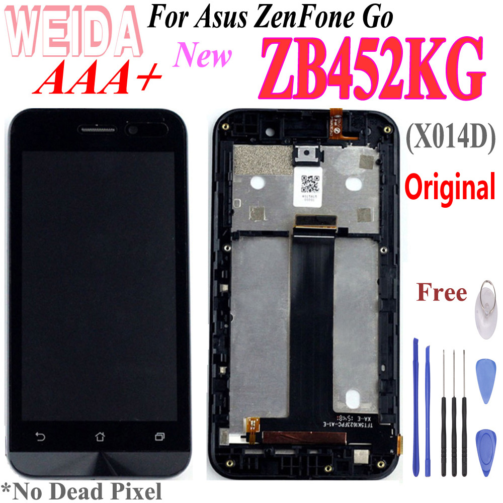 Original 4.5'' LCD For Asus ZenFone Go ZB452KG X014D LCD Display Touch Screen Digitizer Assembly With Frame For ZB452KG Lcd Tool