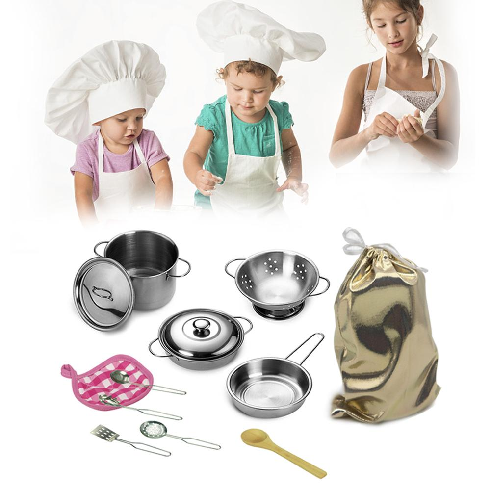 12Pcs Kitchen Toys Stainless Steel Cooking Pots Pans Food Kids Babies Gifts Mini Pretend Tools Set Simulation Play House