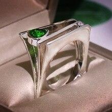 RongXing Anillos de Compromiso de cristal verde geométrico de circonita para mujeres 925 anillo de piedra CZ lleno de plata Nueva joyería de moda
