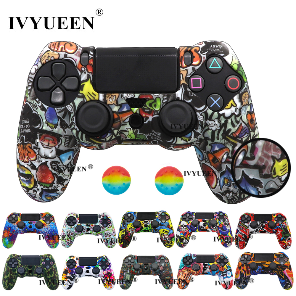 IVYUEEN 25 Colors For PlayStation 4 PS4 Pro Slim Controller Silicone Protective Skin Case Cover Thumb Grip Caps For Dualshock 4