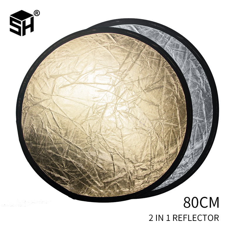 78CM 2 In 1 Reflector Round Flash Photo Studio Collapsible Light Reflector Gold Silver Wholesale Photography Reflector New