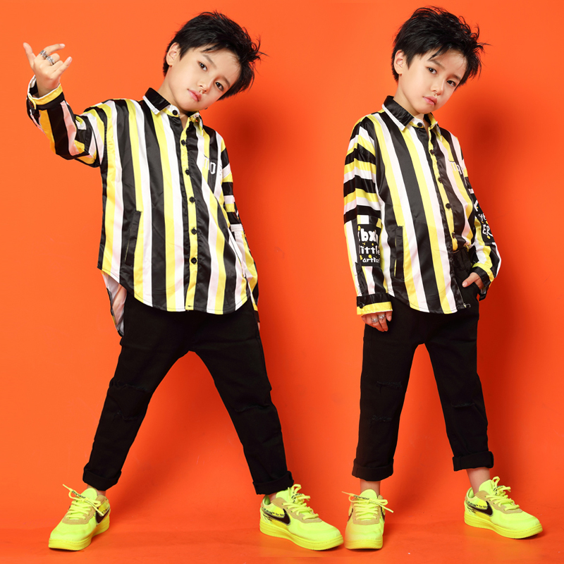 Kids Striped Lapel Shirt Tops Running Casual Hip Hop Pants Dancing Clothing For Girls Boys Jazz Dance Costumes Clothes Wear