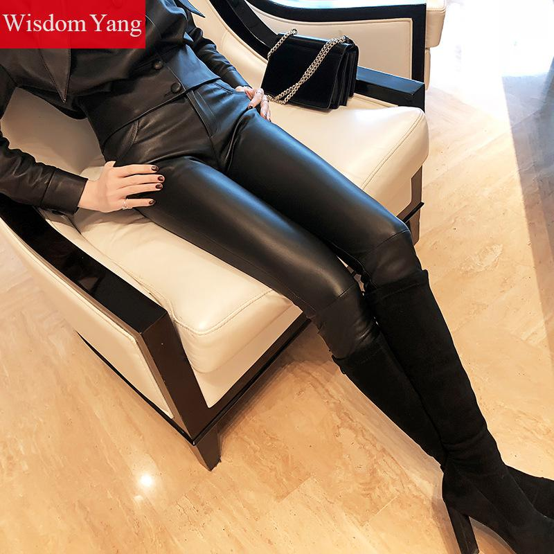 Spring Black Real Sheep Skin Genuine Leather Pencil Pants Nine Trousers Bodyco Ladies Women Pants Gothic High Waist Pant Trouser