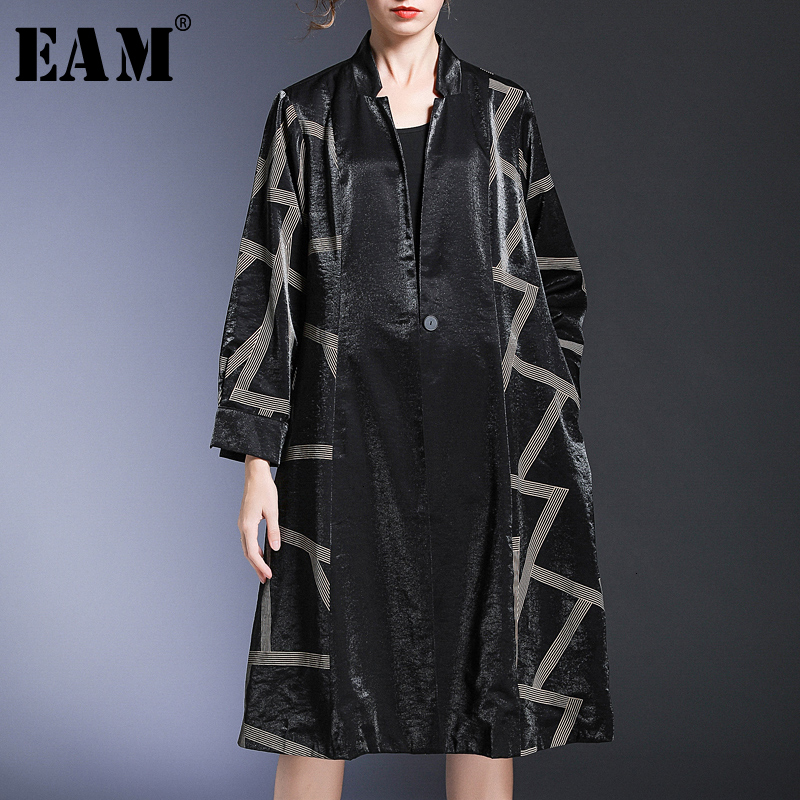 [EAM] Women Pattern Printed Big SizeTrench New Stand Collar Long Sleeve Loose Fit Windbreaker Fashion Spring Autumn 2020 1H689