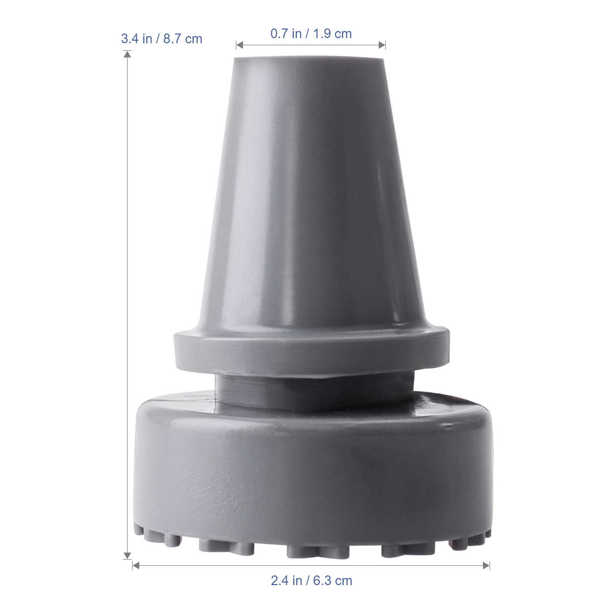 ROSENICE 19mm Silikon Spazierstock Füße Innen Durchmesser Gummi Kopf Krücke Zubehör Antislip Tipps Krücke Gummi Füße (Grau)