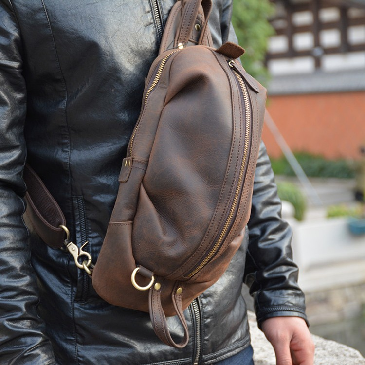 Luufan 2019 New Design Unique Designer Leather Chest Bag Sling Chest Pack Crazy Horse Leather Single Shoulder Bags For Mini Ipad