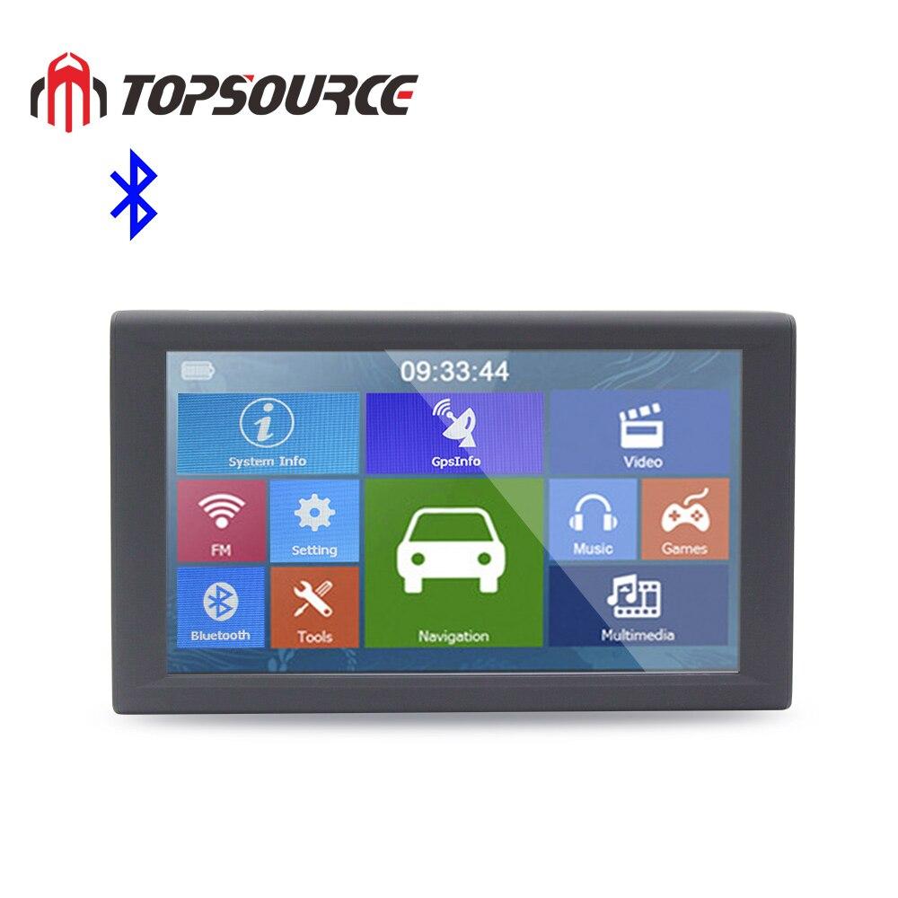 TOPSOURCE 9 Inch Big Screen Car Truck GPS Navigation 256 8GB Bluetooth AVIN Hands-free AV-IN FM Transmitter Free Maps