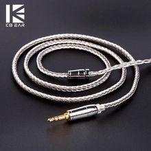 KBEAR 16 rdzeń posrebrzany kabel zbalansowany 2.5/3.5/4.4 MM ze złączem MMCX/2pin/QDC dla ZS10 Pro AS10 ZSX ZSN BL-03 słuchawki