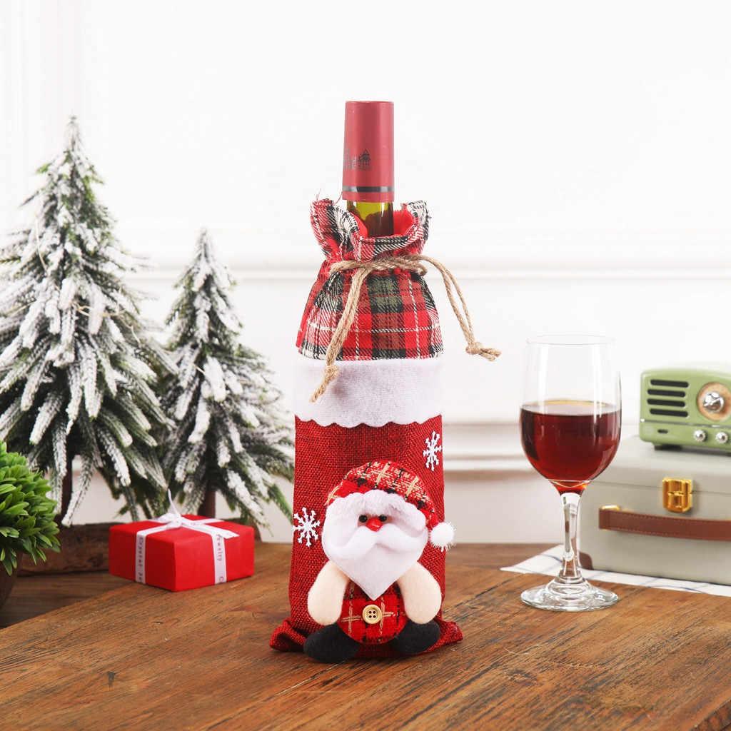 Wina Santa Claus pokrowiec na termofor wesołych świąt dekoracje na boże narodzenie dla domu 2019 boże narodzenie ozdoba Navidad Natal prezent nowy rok 2020 7P
