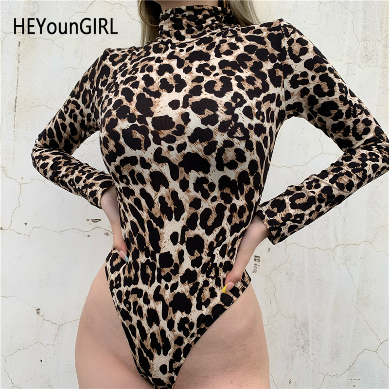 New Sexy Cheetah Leopard Animal Print Bodysuit Long Sleeve Turtleneck Body Women Top Skinny Bodycon Jumpsuits Ladies Autumn