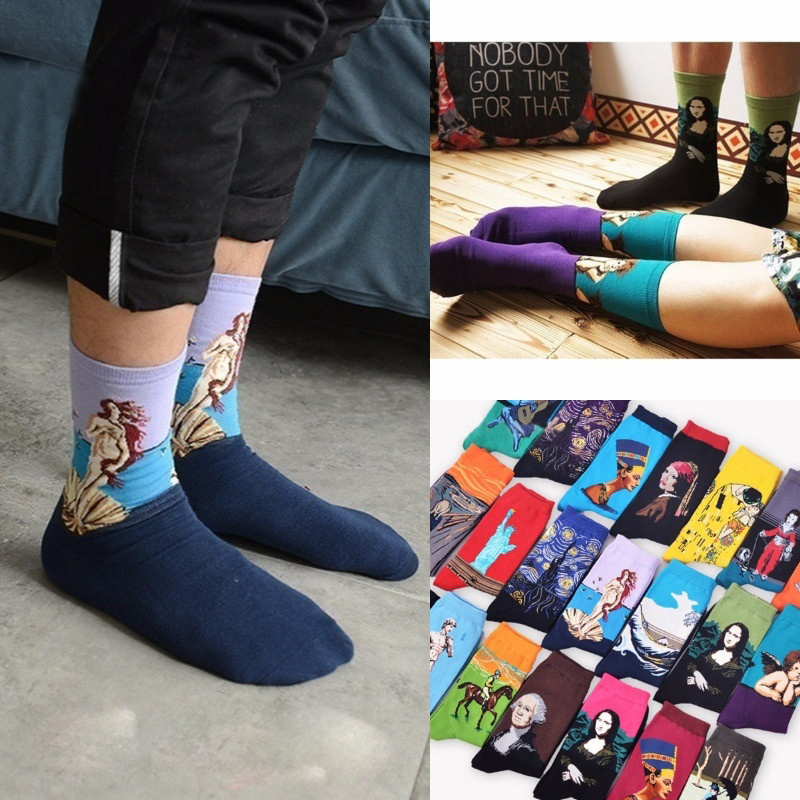 3D Retro Art Socks Women Men Funny Novelty Starry Night Vintage Tube Happy Socks For Women Long Cotton Van Gogh Socks Novelty