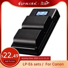 פאלו LP E6 LP E6N LP E6 2000mAh סוללה תא + LCD USB הכפול מטען עבור Canon EOS 6D 7D 5D mark II III IV 60D 60Da 70D 80D 5DSR