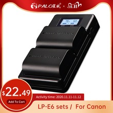 PALO LP E6 LP E6N LP E6 2000mAh Cellula di Batteria + LCD USB Doppio Caricatore Per Canon EOS 6D 7D 5D mark II III IV 60D 60Da 70D 80D 5DSR