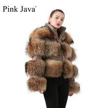 Abrigo de piel auténtica Rosa java QC19017 para mujer, chaqueta de moda de invierno, abrigos de piel de mapache real, abrigo de piel auténtica de zorro gran oferta