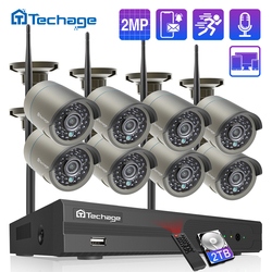 Techage H.265 8CH 1080P Kit NVR inalámbrico 2MP seguridad exterior grabación de Audio Wifi IP Cámara P2P Video CCTV Sistema de Vigilancia Set