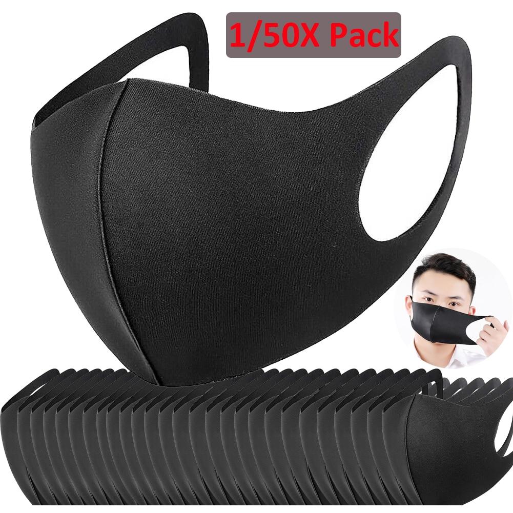 50pcs Anti Haze Dust Mask Washable Cotton Mouth Mask Reusable Women Men Child Muffle Face Masks