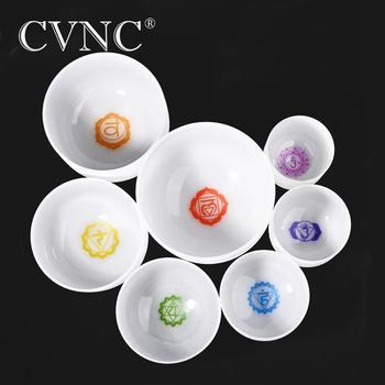 CVNC 6-12 Inch 7 Chakra Frosted Quartz Crystal Singing Bowl CDEFGAB Set