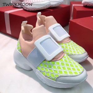 Image 4 - Platform Sneakers Crystal Buckle Air Mesh Designer Trainers Thick Bottom Chunky Womens Sneakers Vulcanized Casual Shoes 2019