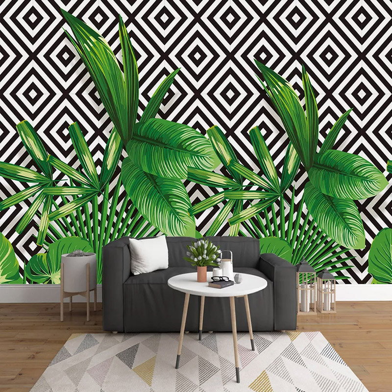 3D Wallpaper Modern Stereo Green Plant Leaves Geometric Mosaic Murals Living Room Self-Adhesive Waterproof Creative Wall Sticker