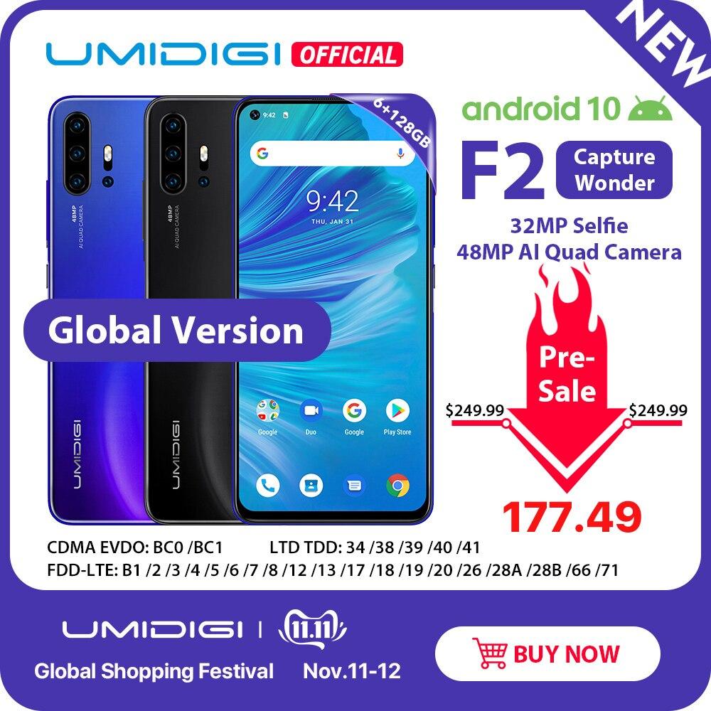 """Pré venda umidigi f2 android 10 versão global 6.53 """"fhd + 6 gb 128 gb 48mp ai quad câmera 32mp selfie helio p70 celular 5150 mah nfc"""