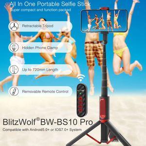 Image 2 - Blitzwolf BW BS10 pro tripé retrátil, atualização de bluetooth, controle remoto de selfie, portátil, tripé para iphone huawei huawei