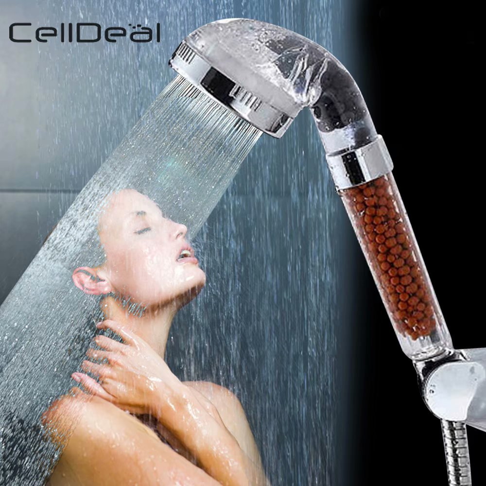 CellDeal Water Saving High Pressure Stone Shower Head Shower Rainfall Filter Lonic Bathroom Type Bathroom Faucet Handheld Shower