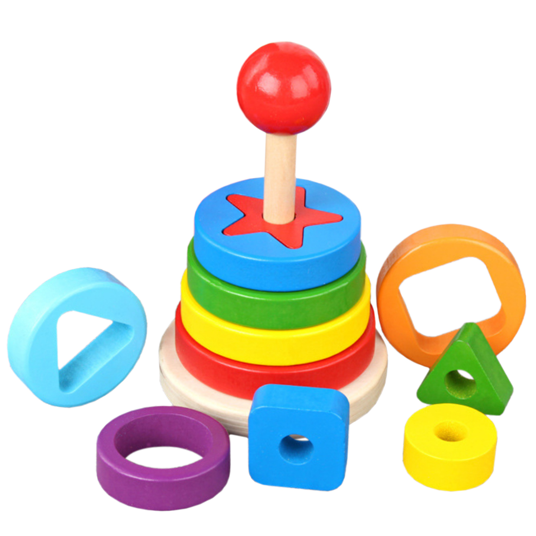 Wooden Irregular Shape Matching Stacking Tower Color And Shape Cognitive Toy For Children Wooden Blocks For Kids Christmas Gift