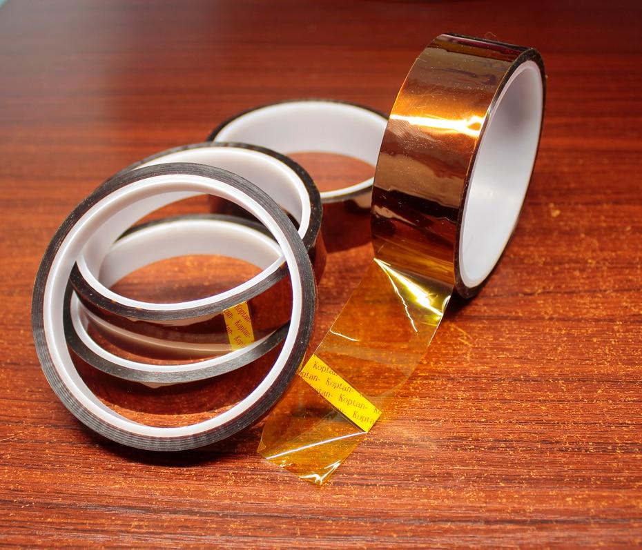 Купить с кэшбэком 30M Gold finger high temperature tape Polyimide high temperature tape Brown high temperature industrial tape Insulation Tape