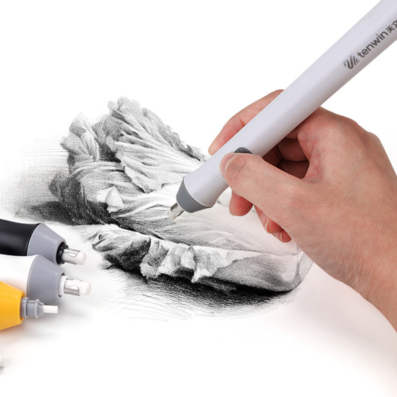 Japanese Tenwin Electric Eraser Set For Pencil Professional Sketch Fine Art Drawing Portrait Eraser Cute Stationery Supplies