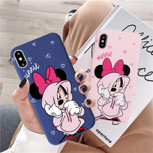JAMULAR Cartoon Minnie Mouse Couple Case For iPhone 7 11 Pro X XS MAX 6 6s 8 Plus Cute Pink Heart Phone Shell XR Capa