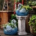 Украшение сада во дворе оксид магния ретро синий Лебедь скульптура цветочный горшок сад парк пейзаж открытый скульптура