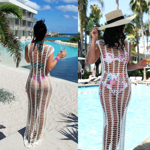 2021 White Summer Beach Crochet Dress Women Swimwear Suit  1