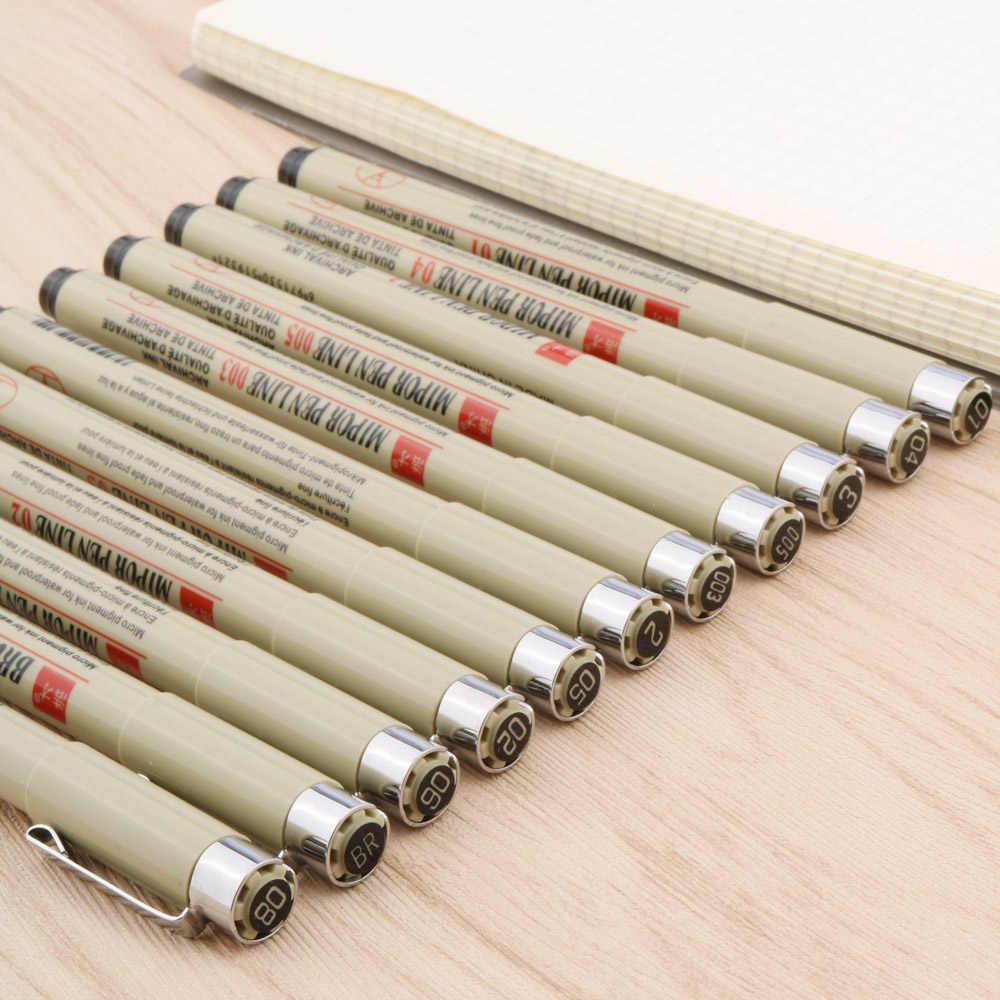 12 قطعة نقطة إبرة خط القلم الفن هوك تلوين مقاوم للماء الرسم غرامة مدرسة مكتب الرسم اللوحة القرطاسية