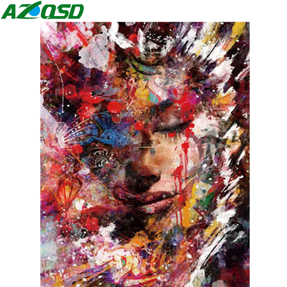 AZQSD DIY Oil Painting By Numbers Girl Unframe Decor For Home Paint By Number Canvas Painting Kits Portrait Handmade Gift