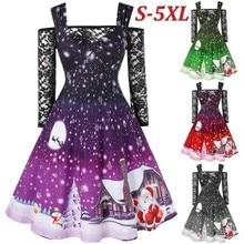 Рождественское платье для женщин с открытыми плечами, кружевная футболка, лоскутное рождественское платье с принтом, винтажное платье размера плюс, ropa mujer vestidos roupa
