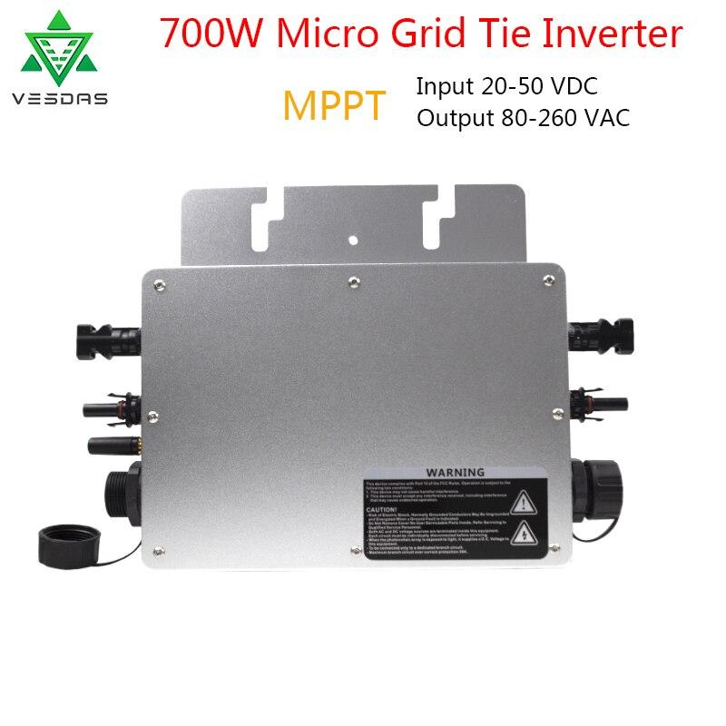 Микроинвертор сетки галстук инвертор 700 Вт Водонепроницаемый Солнечный микро Конвертер MPPT инверсор 22 50VDC к 80 280VAC Авто матч для солнечной