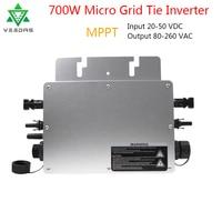 Microinverter Grid Tie Inverter 700W Waterproof Solar Micro Convertor MPPT Inversor 22 50VDC to 80 280VAC Auto Match for Solar