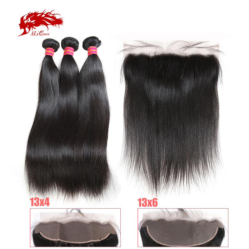 Ali Queen 3Pcs Hair Bundles With 13x4 13x6 Lace Frontal Brazilian Unprocessed Raw One-Donor Virgin Straight Double Drawn Human